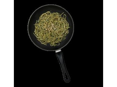 Pan with Spaghetti and Pesto