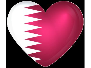 Qatar Large Heart Flag