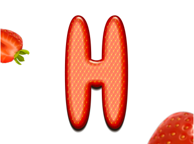 Strawberry Letter H 3D Text