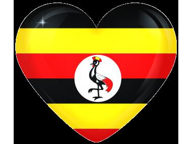 Uganda Large Heart Flag