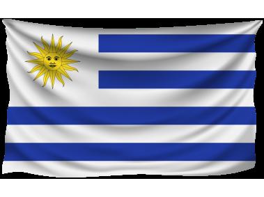 Uruguay Wrinkled Flag