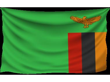 Zambia Wrinkled Flag
